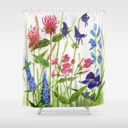 Garden Flowers Botanical Floral Watercolor on Paper Shower Curtain