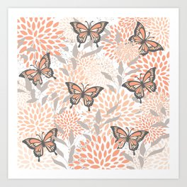 Floral and Butterflies Prints, Gray, Coral, Peach Art Print