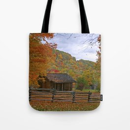 Log Cabin in Autumn Tote Bag