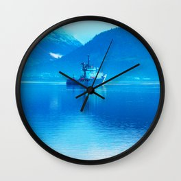 Ship on loch Wall Clock