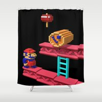 donkey kong Shower Curtains featuring Inside Donkey Kong by Metin Seven