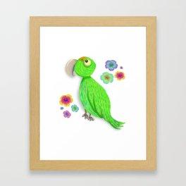 Parrot Bibi Flowers Framed Art Print