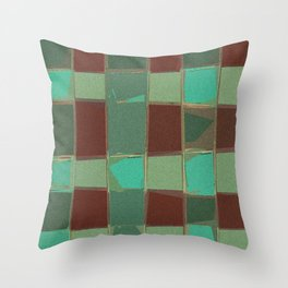 Speckled Geometric Patch Work Shapes Green Brown Throw Pillow