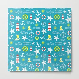 Seamless nautical pattern Metal Print