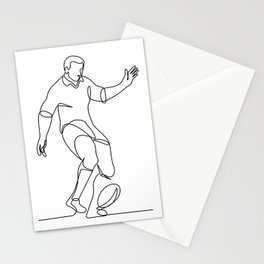 Rugby Player Kicking Ball Continuous Line Stationery Cards