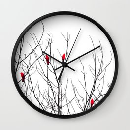 Artistic Bright Red Birds on Tree Branches Wall Clock