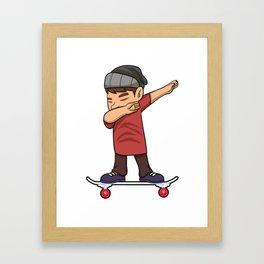 Skateboarding Teen Boy on Skateboard Gift for Skater  Framed Art Print