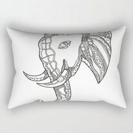 Bull  Elephant Head Doodle Art Rectangular Pillow