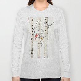 Birch Trees and Cardinal Long Sleeve T-shirt