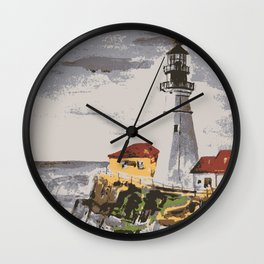Lighthouse at Maine Wall Clock