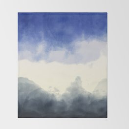 Abstract watercolor navy blue gray ivory ombre Throw Blanket