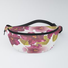 Watercolor violets on the white background Fanny Pack