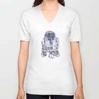 r2d2 V-neck T-shirts featuring R2D2 by KitschyPopShop