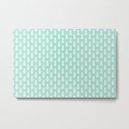 Mint Pineapple Pattern Metal Print