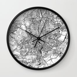 Madrid White Map Wall Clock