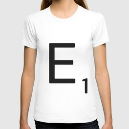 Letter E - Custom Scrabble Letter Wall Art - Scrabble E T-shirt