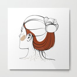 Red-haired woman with freckles. View from the back. Abstract face. Fashion illustration Metal Print