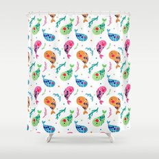 The Happy Fish Pattern Shower Curtain