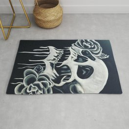 Black and White Skull Rug