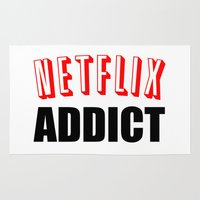 netflix Area & Throw Rugs featuring Netflix Addict by Poppo Inc.