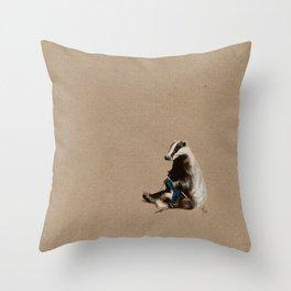 Badger Knitting a Scarf Throw Pillow
