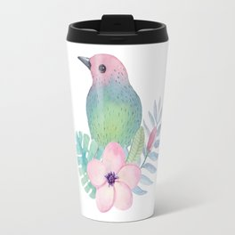 Watercolor Pink Blue and Green Bird and Flower Travel Mug
