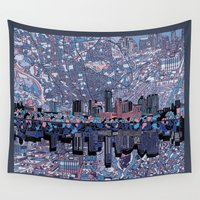 austin Wall Tapestries featuring austin texas city skyline by Bekim ART