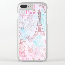 I love Paris- Vintage  Shabby Chic in pink - Eiffeltower France Flowers Floral Clear iPhone Case
