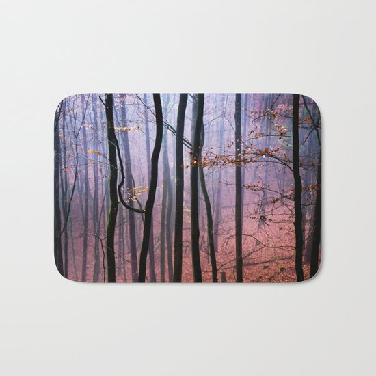 Foggy fall forest photography Bath Mat