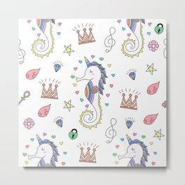 seamless pattern cute unicorn cartoon Metal Print