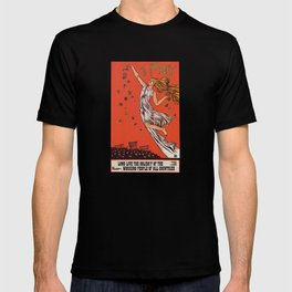 Russian May Day celebration poster in English T-shirt