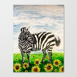 Stripes and Sunflowers Canvas Print