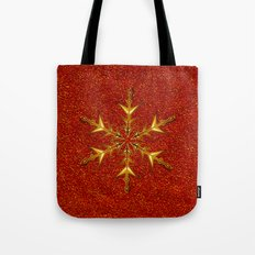 Golden Snowflake on Red Glitters Tote Bag