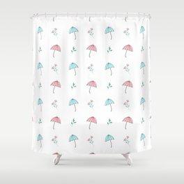 Modern hand drawn pastel pink teal floral umbrella pattern Shower Curtain