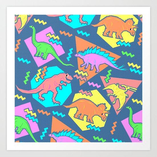 Nineties Dinosaur Pattern Art Print