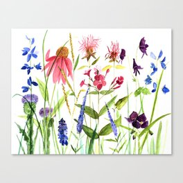 Botanical Colorful Flower Wildflower Watercolor Illustration Canvas Print