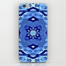 Elegant Boho Blue Soul Sacred Geometry Mandala Print iPhone Skin