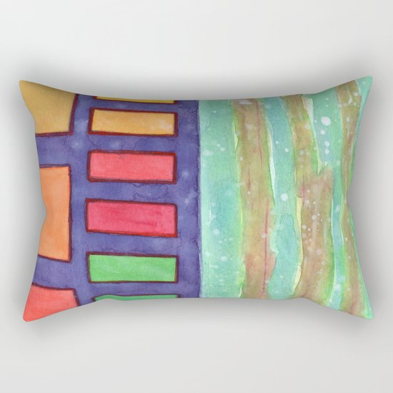 Building with colorful Windows Rectangular Pillow