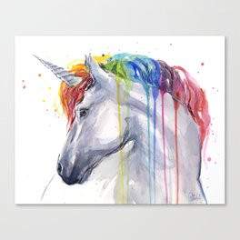Rainbow Unicorn Watercolor Canvas Print