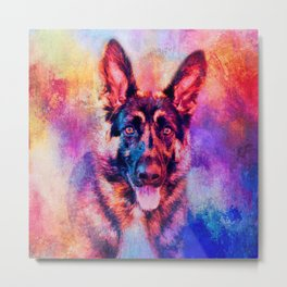 Jazzy German Shepherd Colorful Dog Art by Jai Johnson Metal Print