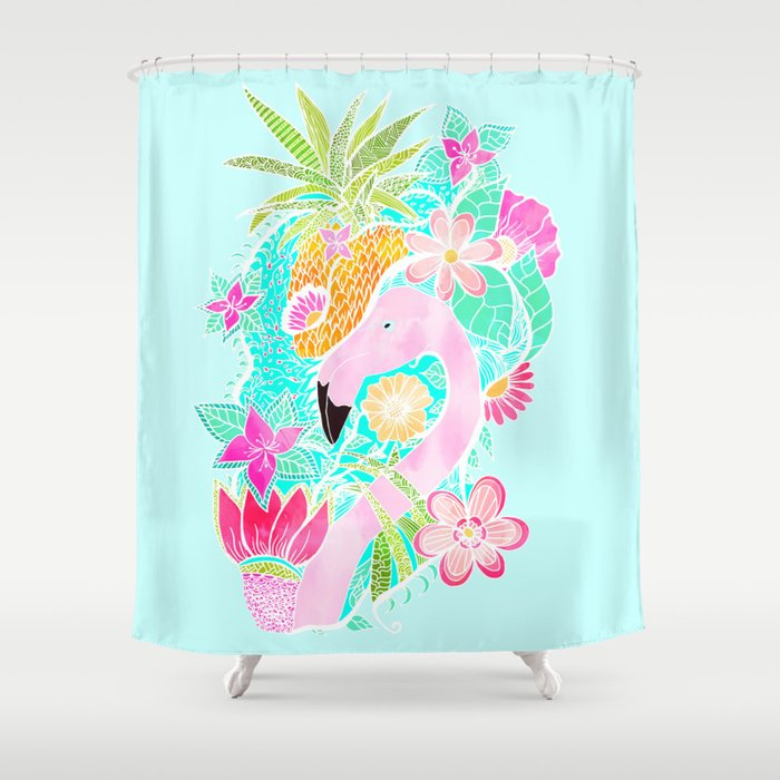 Tropical Summer Watercolor Flamingo Floral Pineapple Shower Curtain