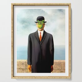Rene Magritte The Son of Man, 1964 Artwork, Tshirts, Posters, Prints, Bags, Men, Women, Youth Serving Tray