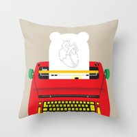 typewriter Throw Pillows featuring Typewriter by EinarOux