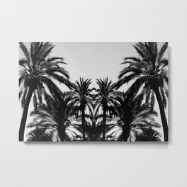 Palm Tree Silhouettes Black and White Metal Print