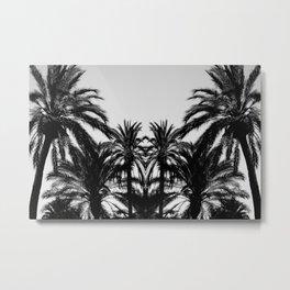 Palm Tree Silhouettes Black and White Metal Print
