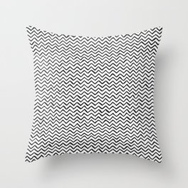 Black & White Hand Drawn ZigZag Pattern Throw Pillow