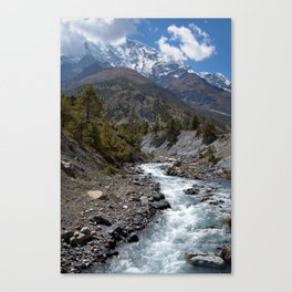 River and Mountains en route to Manang Canvas Print