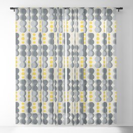Uende Grayellow - Geometric and bold retro shapes Sheer Curtain