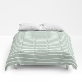 Festive, Colorful Stripes, Green and White, Minimal Art Comforters
