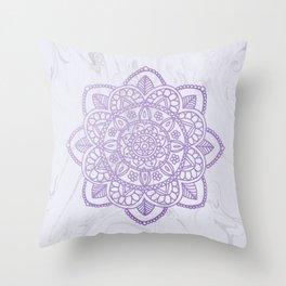 Lavender Mandala on White Marble Throw Pillow
